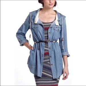 Holding Horses hooded chambray button down XS